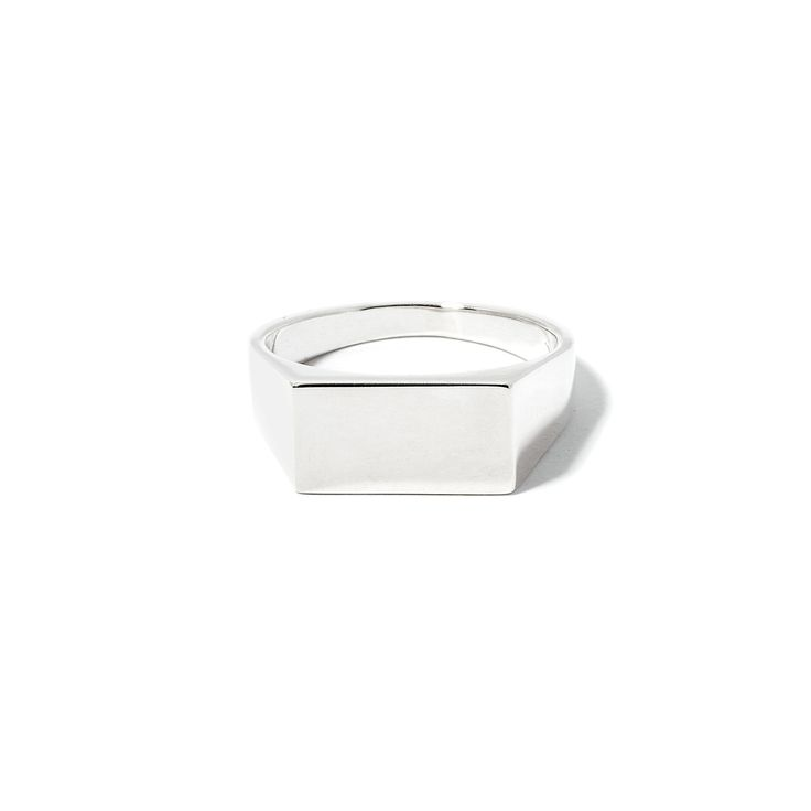 The Rectangle Signet by SARAH & SEBASTIAN is a signet-style ring created in sterling silver featuring a rectangular design. Nickel free.