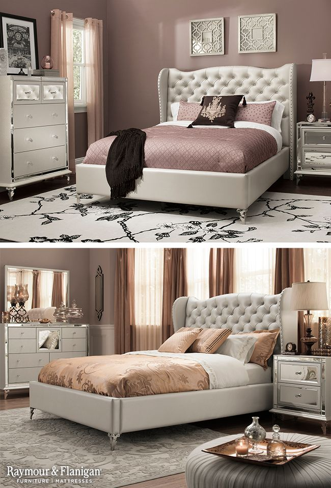 This bedroom set is fit for a queen! Just look at those mirrored accents on the nightstand. Glamorous! Appropriately named, Hollywood Loft, is perfect for any bedroom that needs some crystal and shimmer.