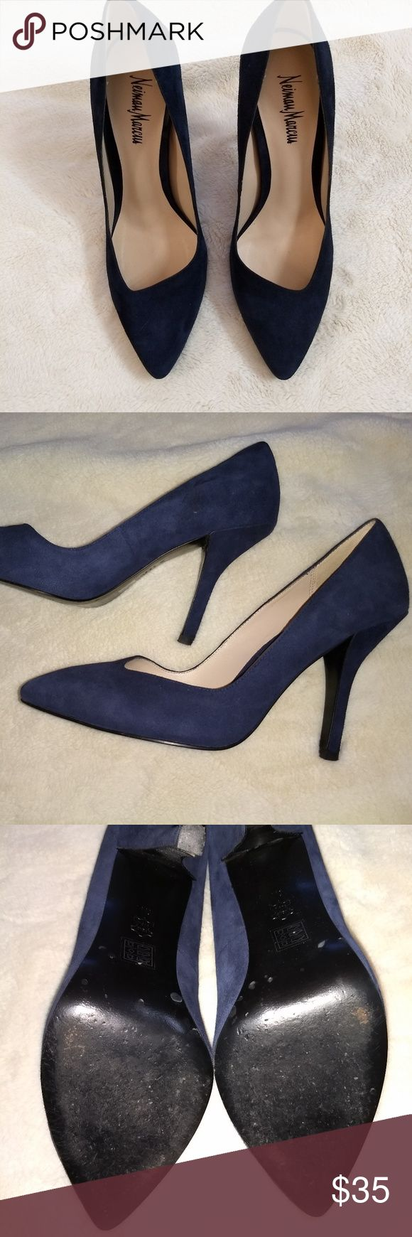 Neiman Marcus Blue Suede Pumps EUC - Worn only 4-5 times, showing only minimal signs of wear. Gorgeous dark blue suede pump with 3.25 inch heel. Very comfortable and have 'Vero Cuoio' stamp on bottom (which signifies the shoe is made of high quality Italian leather). Neiman Marcus Shoes Heels