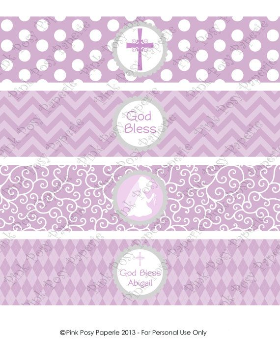 Printable Girl First Communion Lavender Water by PinkPosyPaperie, $4.00