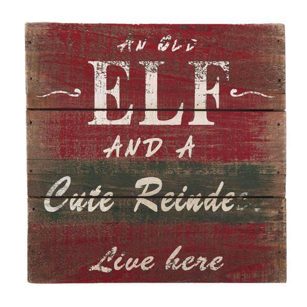 An old elf and a cute reindeer live here Christmas decoration wall art. Can be used standing, hanging, or on an easel to add that special touch of holiday spirit to any room.
