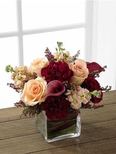 wedding centerpieces using cranberries | Peaches and cranberry centerpiece.