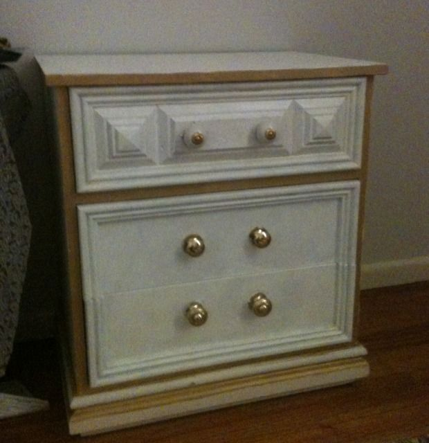 Transform some old bedside tables into eclectic, white ones! Taken from 18th century French gilded inspiration and pared with some pretty knobs. Read the whole article at http://annakosmanovski.com/diy-transformation-white-bedside-tables/