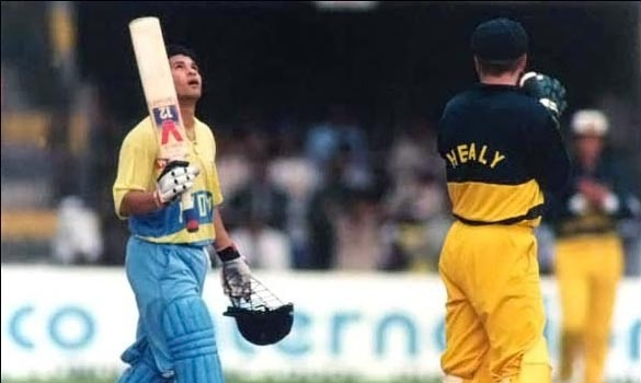 Century #8: 110 vs Australia, at Premadasa Stadium, Colombo, on Sep 9, 1994  India had won the toss and set up a challenging total on a dicey Premadasa pitch in Sri Lanka. Sachin scored a blistering 110 which truly set up the game and paved the way for an Indian victory. It was Sachin's first ODI hundred.  Facebook.com/StuckOn99