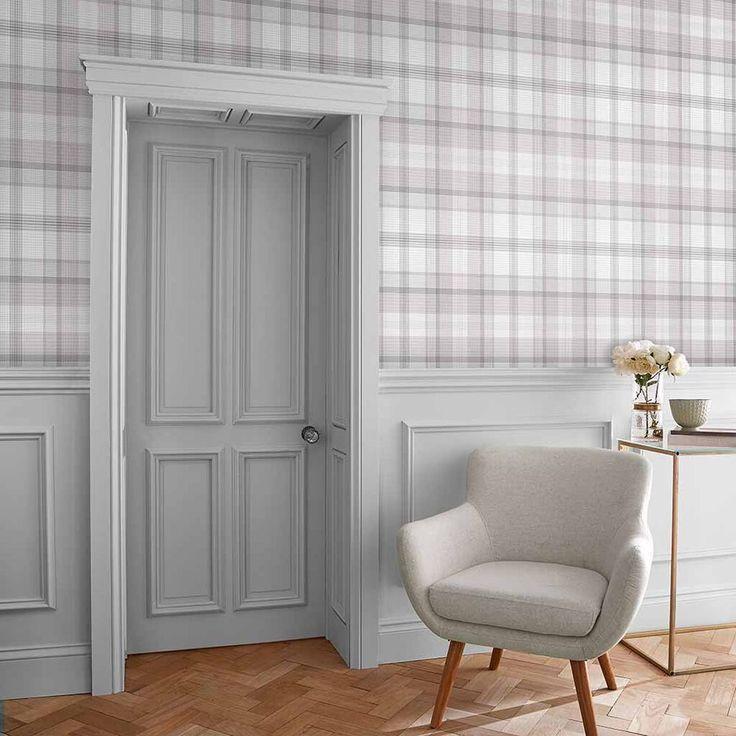 Graham & Brown Heritage Plaid Grey Wallpaper Grey
