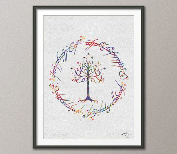 White Tree of Gondor LOTR Watercolor Art Print Art Wall Art Poster Wall Decor Art Wedding Gift Geek Poster Home Decor Wall Hanging  [NO386]