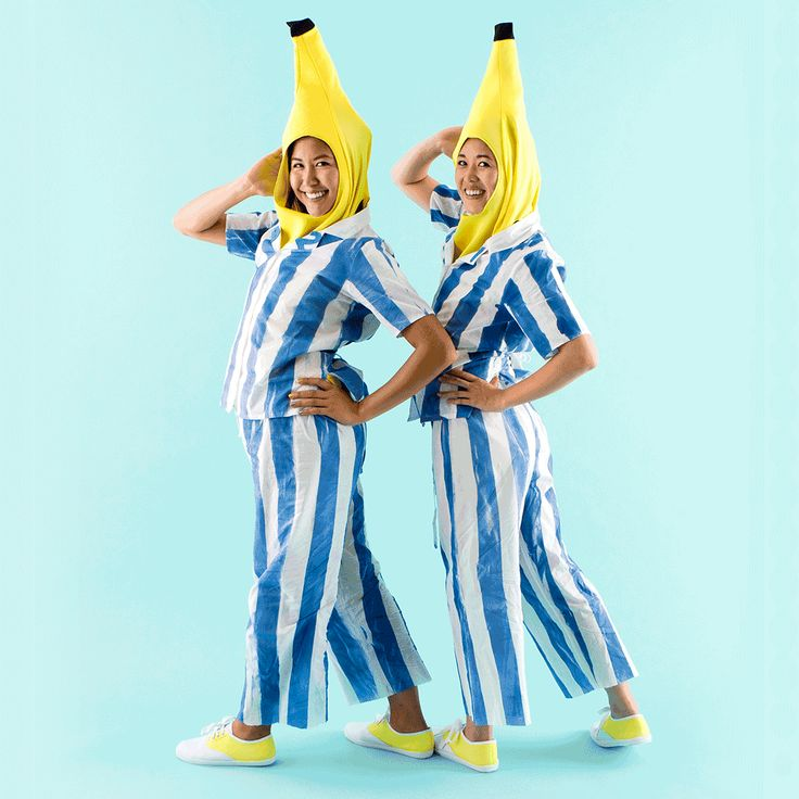 Follow this easy DIY Halloween couples costume idea to learn how to dress up as Bananas in Pajamas.