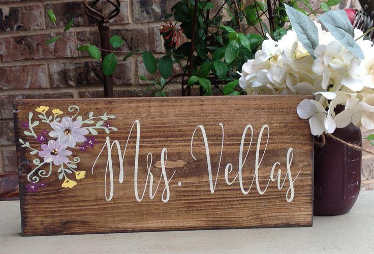 Teacher Gift, Teacher Name Sign, Teacher Appreciation, Hand Painted Sign, Custom…