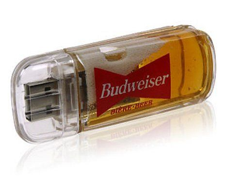 This USB flash drive that comes with a few milliliters of beer is definitely novel although impractical due to the tiny amount that isn't...