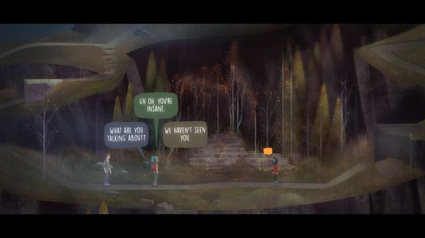 Oxenfree: Multiple speech bubbles pop up sequentially but stay visible for a duration.