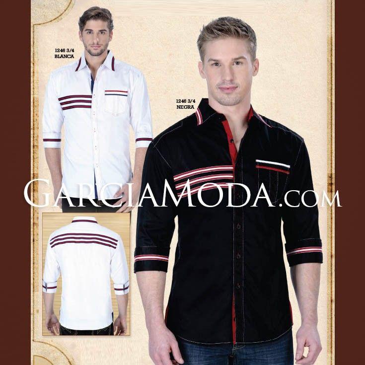 Camisa Lamasini 1246 Tela lisa con franjas bicolor en pecho, bolsillo y manga. Manga 3/4