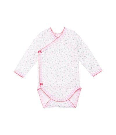 Body naissance bébé fille manches longues en coton imprimé de fleurs blanc Ecume / vert Charles - Petit Bateau