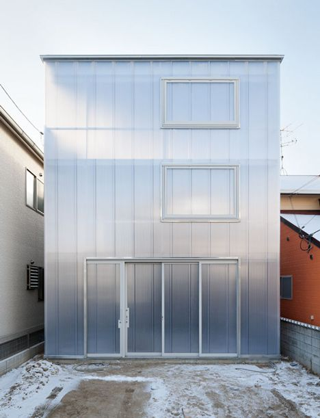 Translucent polycarbonate walls - House in Hiroshima by Japanese architects, Suppose Design Office.
