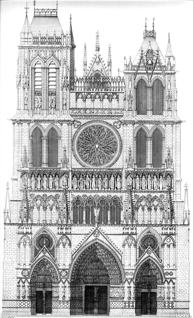 architectural drawing of Amiens Cathedral, France. Begun 1220 - The western frontispiece of Amiens cathedral displays a program of three sculpted portals.