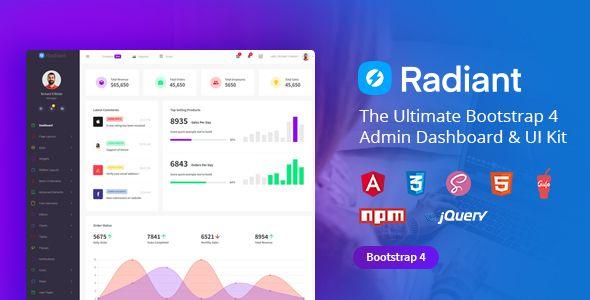 Radiant Bootstrap 4 Admin Template Angular 5 Starter Kit Admin Panel Template Templates Dashboard Template