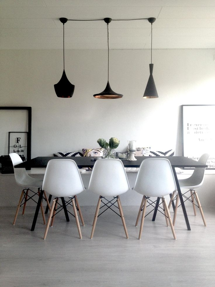 Dining Room Hay Loop Table Tom Dixon Beat Light Eames DWW Chairs