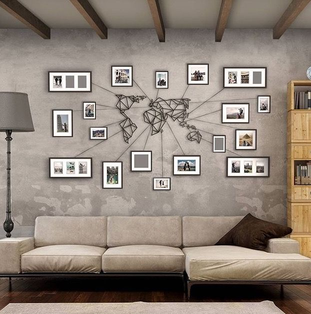 Beautiful idea to fill an empty wall while showcasing one's travels.