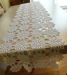 White crochet table runner