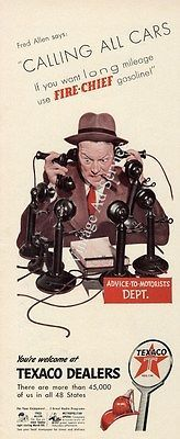 Fred Allen 1940s Texaco Fire Chief Gasoline Advertisement