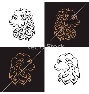 Lion head tattoo or logo vector 4306846 - by Baksiabat on VectorStock®