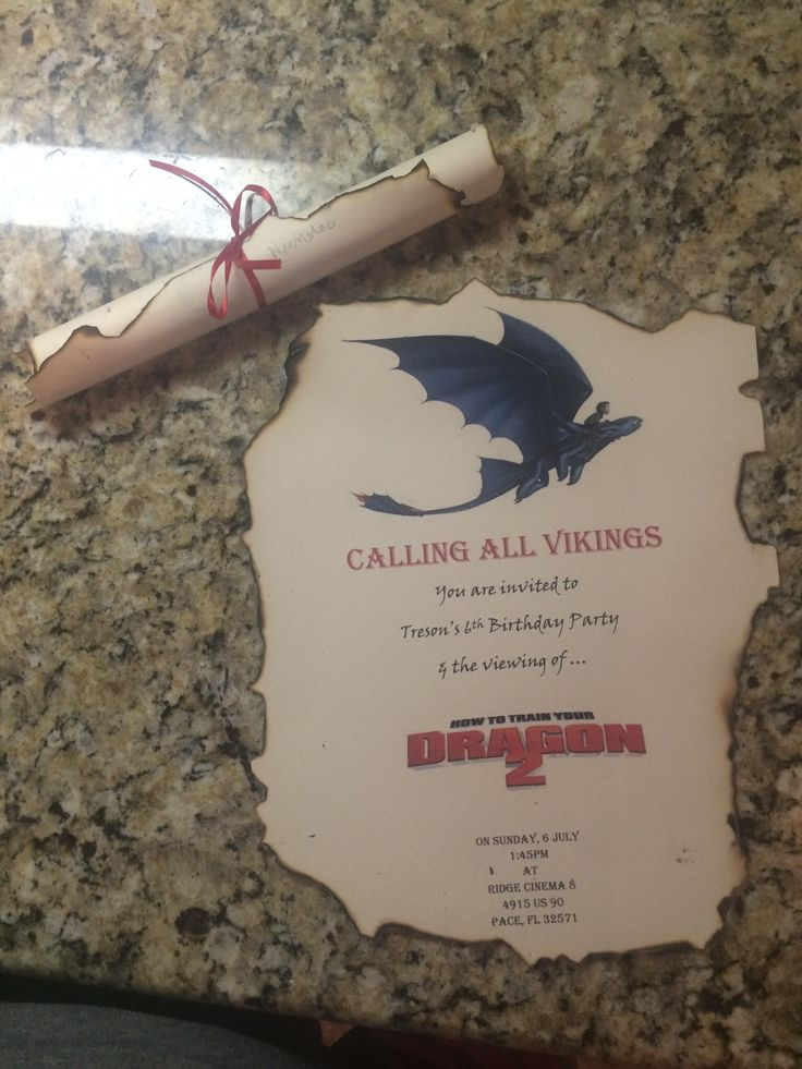 How to train your dragon invitations.  I love how these bday invites came out my husband and son burned the edges to make it look more authentic viking.