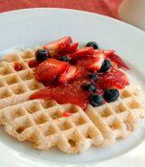 Mochi Waffle with Strawberry Syrup