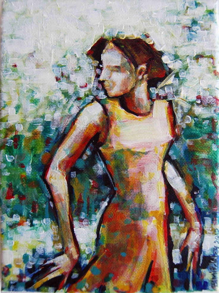 "'Passing By'   Acrylic on Canvas   130mmx180mm   5"" x 7"" #Art #Painting #Acrylic #Fine_Arts #Contemporary #Benjamin_Mitchley #Figurative #Female #South_Africa"