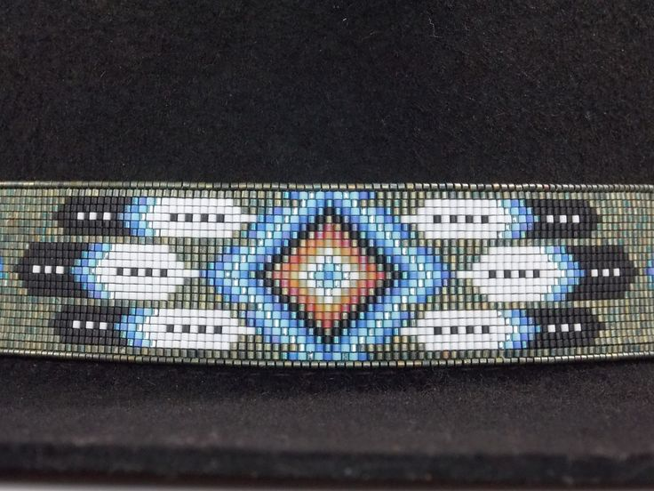 Native American Beaded Patina Diamond Feather Hat Band                                                                                                                                                                                 More
