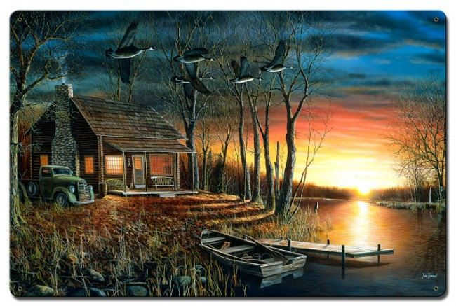 Sundown by Jim Hansel, Satin Finish Art on Metal, Cabin Lodge Country home decor wall art, FREE Shipping by HomeDecorGarageArt on Etsy