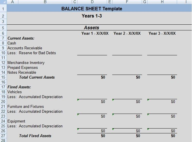 Balance Sheet Template Calculating Ratios Balance Sheet Template