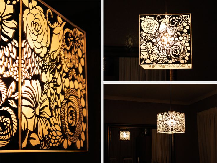 Laser Engraved Mirror Perspex Floral Light Shade