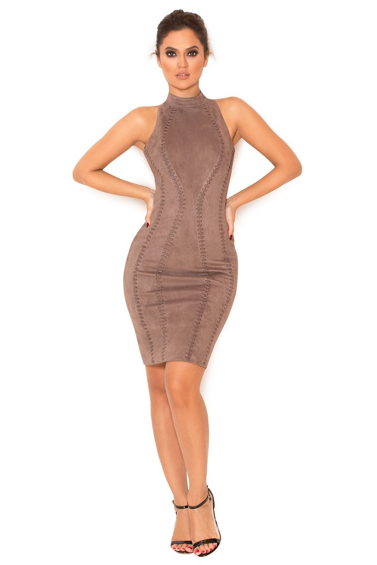 Clothing : Bodycon Dresses : 'Richere' Taupe Suedette Halter Dress