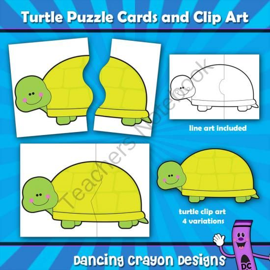 Turtle Puzzle Cards and Turtle Clip Art from Dancing_Crayon_Designs on TeachersNotebook.com (66 pages)  - Turtle puzzle cards for making teaching resources for young children.