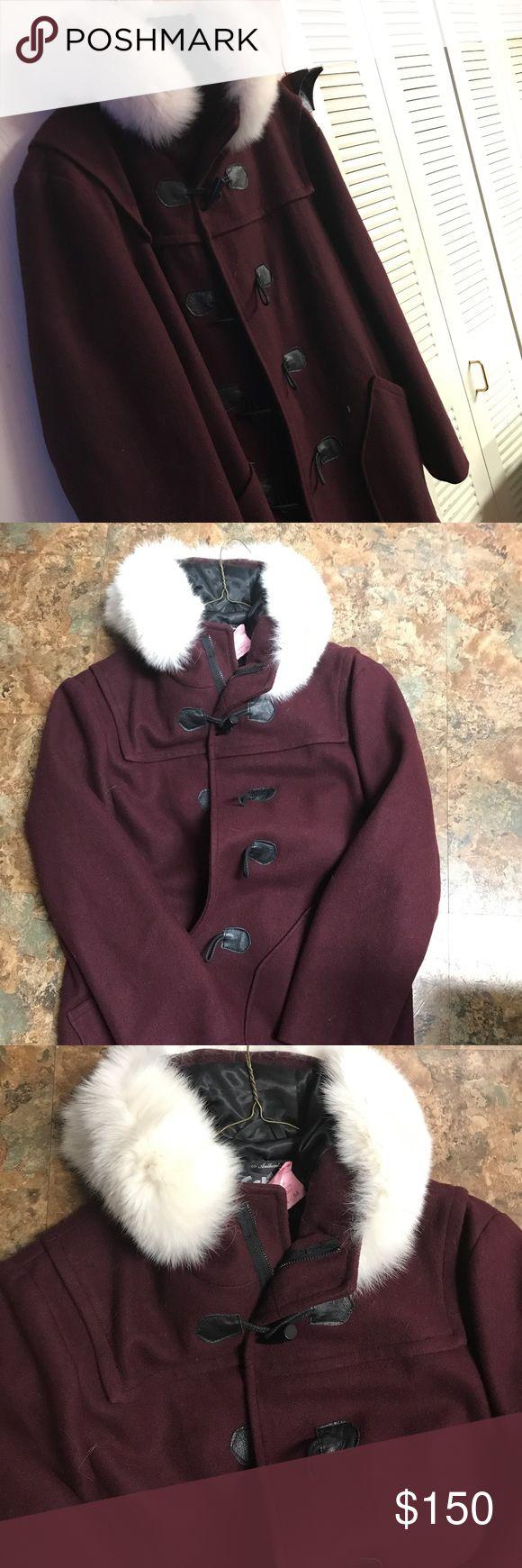 Men's Coat Burgundy wool white faux fur collar wooden buttons Schott NYC Jackets & Coats Pea Coats