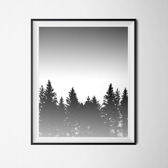 Black and White Pine Tree Forest Printable - 16 x 20 Poster size ~ You are purchasing an Instant Download of my original design. ~The file is an EXTRA LARGE 16 x 20 poster size - You can also scale the file down to 8x10 or 5x7 just by changing your printer settings! ~ You will receive one (1) PDF file and one (1) JPG file. ~ Easily print unlimited copies at home, at your favorite local printer or send to an online printing service. IMAGE SPECIFICATIONS: Image resolution: 300 ppi (High Qu...