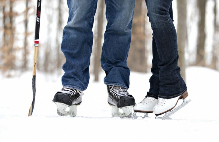 Ones a hockey player, the other is a figure skater... Had a fun shoot in the middle of a forest on a private ice rink :)