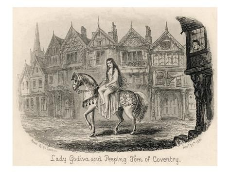 Lady Godiva Rides Her Horse Naked Through the Streets of Coventry While Peeping Tom Looks On Giclee Print