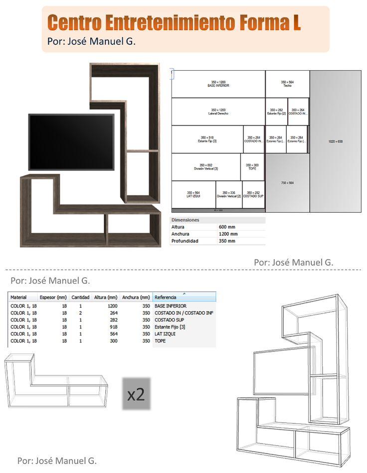 Diseño De Muebles Madera: Centro De Entretenimiento Forma L - Diseño 3D Plan...