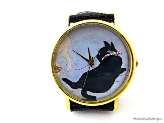 Cat Watch, Unisex Watch, Ladies Watch, Mens Watch, Cat Jewelry, Personalized Watch