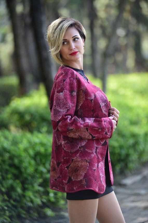 Цветочный узор Кардиган мериносовой шерсти Blazer цветок Розовые розы Печать Короткие пальто краткости модность Кусочек зимы Ladies Jacket
