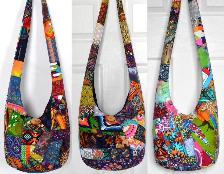 MADE TO ORDER Crossbody Bag Hobo Bag Sling Bag Hippie Purse Hobo Purse Boho Bag Bohemian Purse Patchwork Crazy Quilt Handmade Bag Slouch Bag by 2LeftHandz on Etsy https://www.etsy.com/listing/98849131/made-to-order-crossbody-bag-hobo-bag - The latest in Bohemian Fashion! These literally go viral!