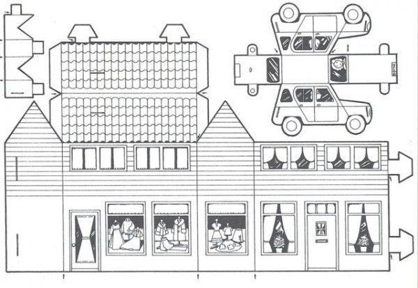 Een (van de) huisje om te kleuren en dan een heel dorpje te maken!