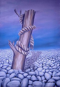 Landscape, painting, coastal,scene,blue,purple,lavender,whimsical,beautiful,images,contemporary,modern,wall,art,awesome,cool,artistic,artwork,for,sale,home,office,decor,oil,stones,desert,white,pebbles,rocks,rope,dead,tree,log,branch,wood,trunk,broken,old,items,ideas, fine art america