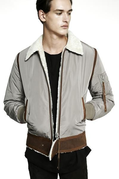 Shearling Bomber jacket with nylon bomber sleeves