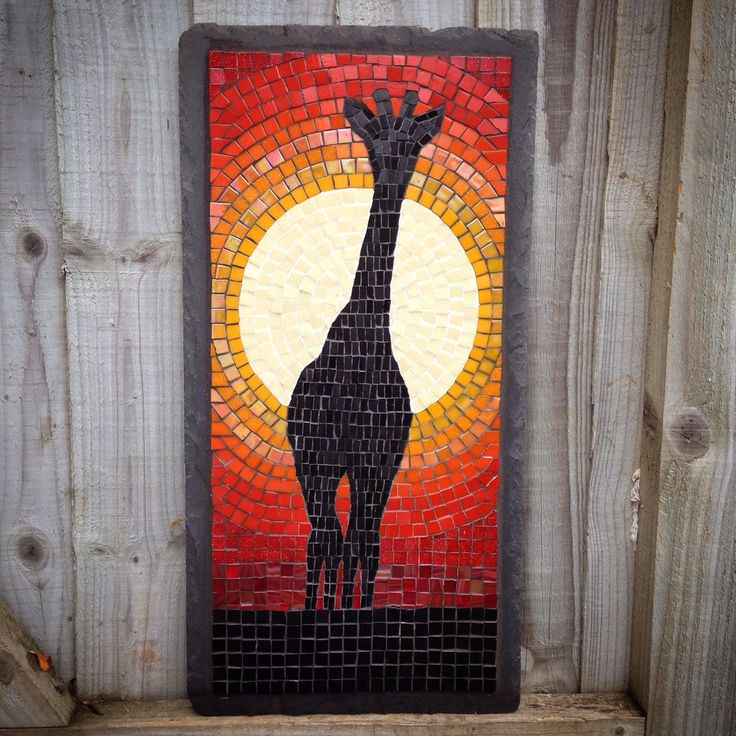 Glass mosaic on a slate base. Giraffe silhouette in front of sunset  Commission from fatpoppycat