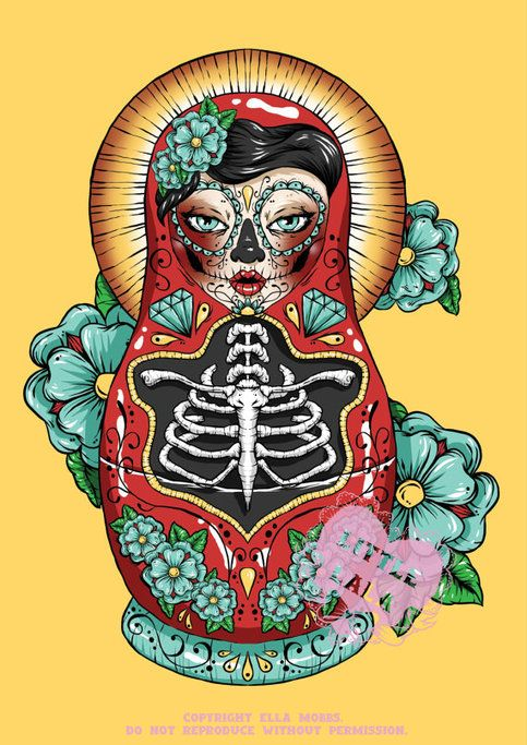 Day of The Dead Russian Doll from Ella Mobbs