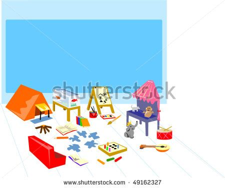 illustration of a play area showing camping ,painting and theater. #playground #retro #illustration