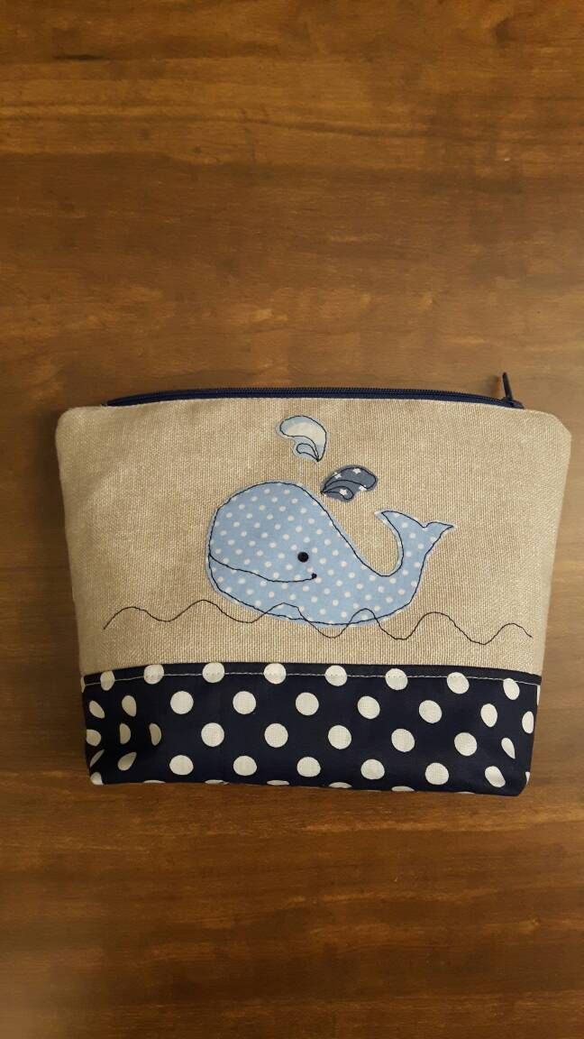 Lovely whale applique zip bag using machine free- motion embroidery, Zip-Pouch, For Bits and Bobs, boys or girl Case, Handmade, GBP9.00 by CurlyEmmaEmbroidery on Etsy