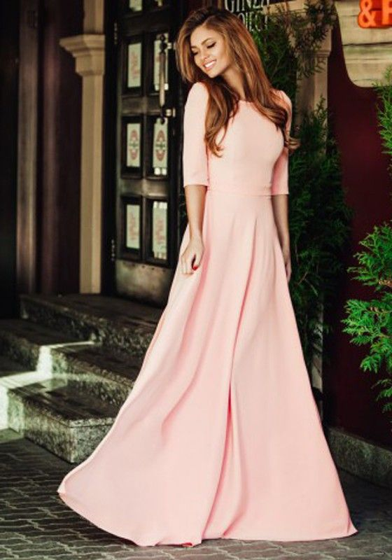 Modest Pink Elegant Dress