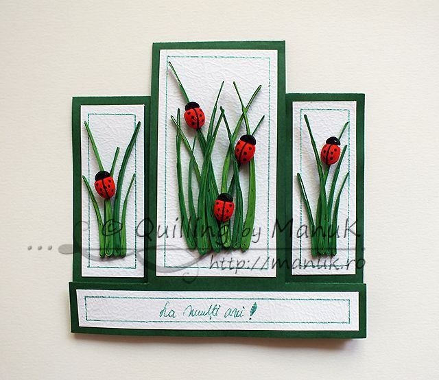Stepper Birthday Greeting Card with Quilled Ladybugs and Grass